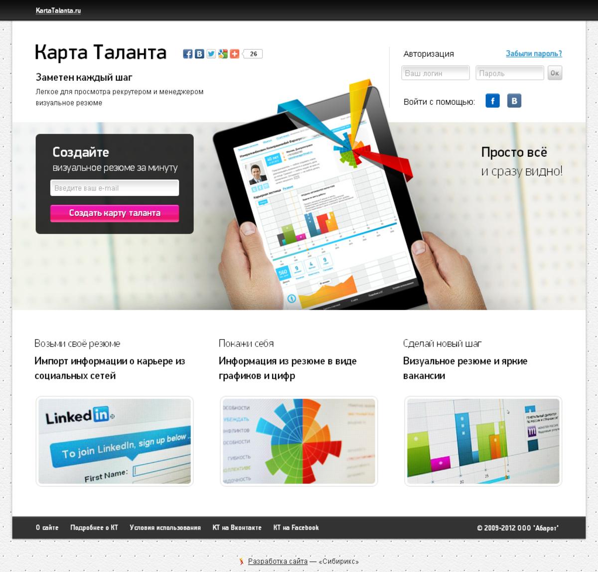 Карта таланта — визуализатор резюме / Проект компании Сибирикс, scrum-студия