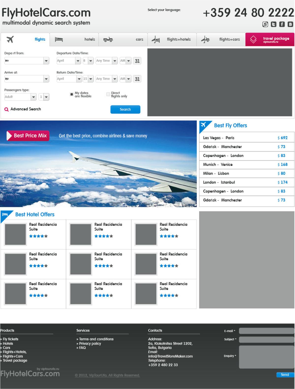 FlyHotelCars — бронирование перелетов, отелей, трансфера по всему миру / Проект компании Дизайн Студия Артура Хазеева