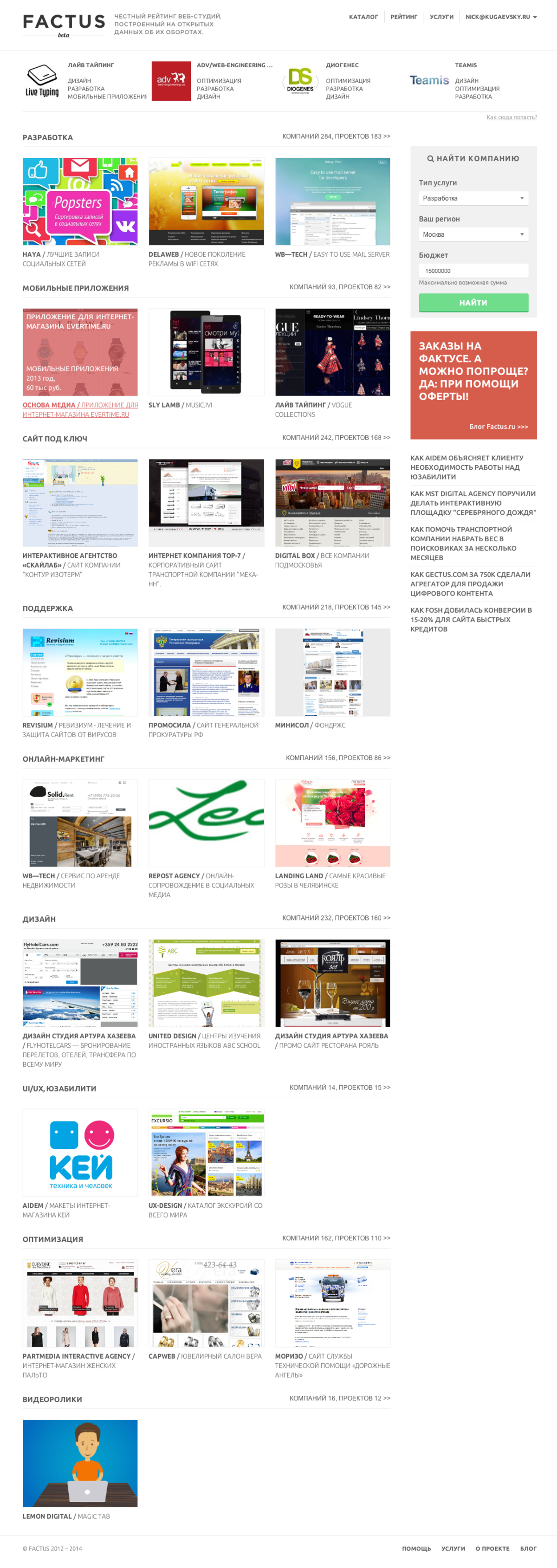 Фактус → рейтинг и каталог студий рунета / Проект компании Dudes.io