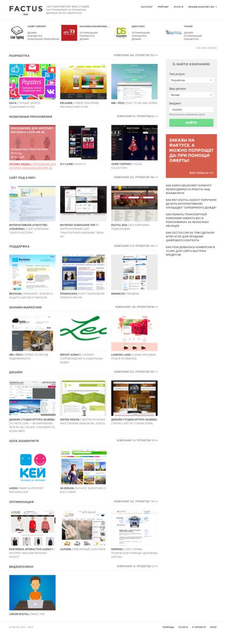 Фактус → рейтинг и каталог студий рунета