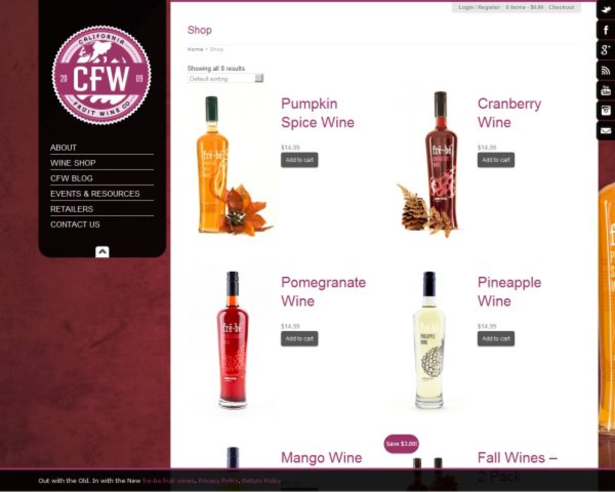 Сайт винной компании California Fruit Wine / Проект компании Интерактивное агентство «SKARUI»