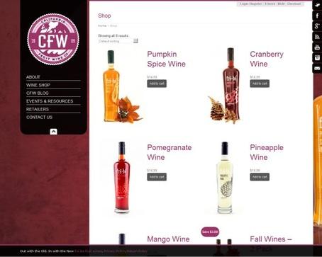 Сайт винной компании California Fruit Wine