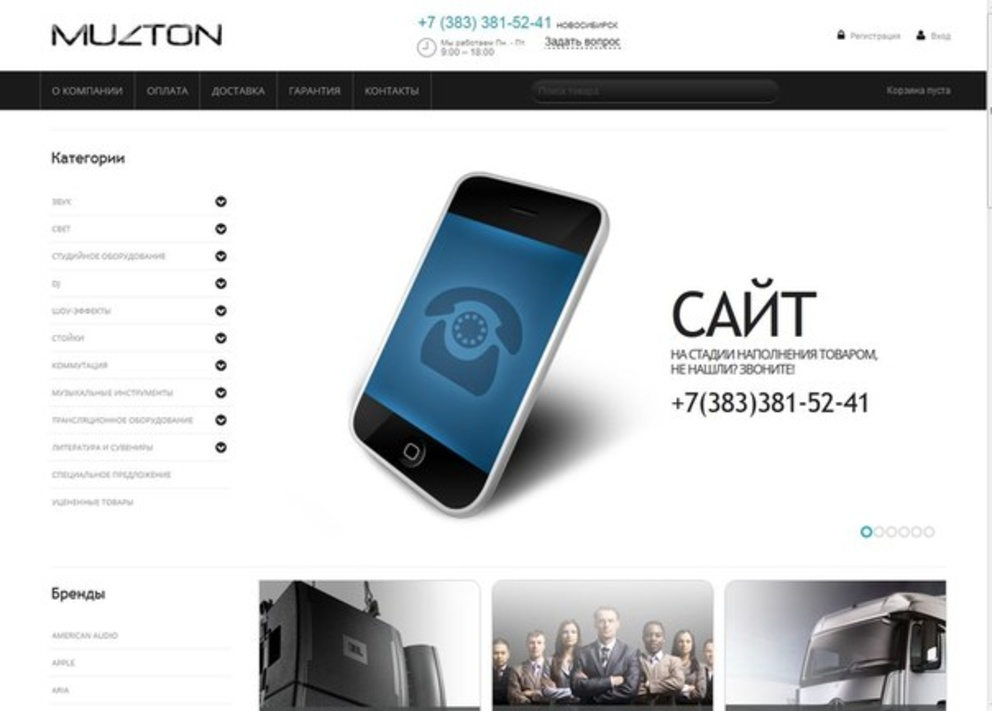 Интернет-магазин Музтон / Проект компании Seon